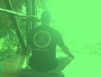 a picture of a Kriya Yoga Initiate doing pranayama for Services.