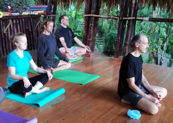 a picture of a pranayama class in Costa Rica