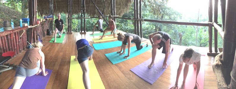 a picture of an asana class at the Kriya Yoga Spiritual Advance in CR